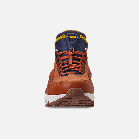 Front view of Men's Nike Air Max 95 Sneakerboots in Dark Russet/Thunder Blue/Light Bone/Yellow
