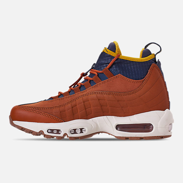 Left view of Men's Nike Air Max 95 Sneakerboots in Dark Russet/Thunder Blue/Light Bone/Yellow