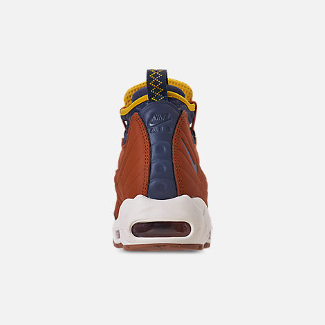 Back view of Men's Nike Air Max 95 Sneakerboots in Dark Russet/Thunder Blue/Light Bone/Yellow