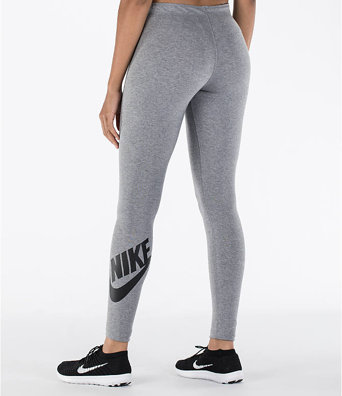 Front view of Women's Nike Leg-A-See Logo Leggings in Carbon Heather/