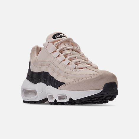 Three Quarter view of Women's Nike Air Max 95 Premium Casual Shoes in Light Cream/Oil Grey/Summit White