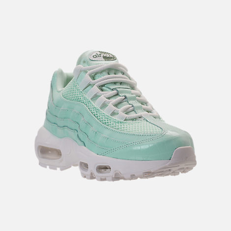 Three Quarter view of Women's Nike Air Max 95 Premium Casual Shoes in Igloo/Igloo/Summit White/Clay Green