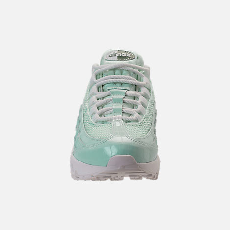 Front view of Women's Nike Air Max 95 Premium Casual Shoes in Igloo/Igloo/Summit White/Clay Green