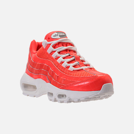 Three Quarter view of Women s Nike Air Max 95 Premium Casual Shoes in Rush  Coral  8398cfabc