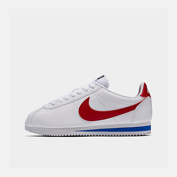 Right view of Women's Nike Classic Cortez Leather Casual Shoes in White/Varsity Red/Varsity Royal
