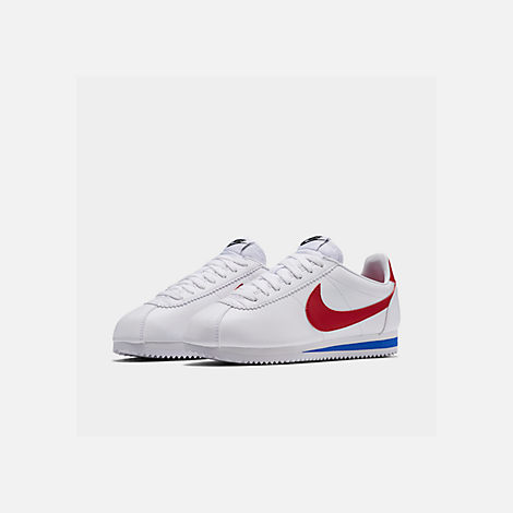 Three Quarter view of Women's Nike Classic Cortez Leather Casual Shoes in White/Varsity Red/Varsity Royal