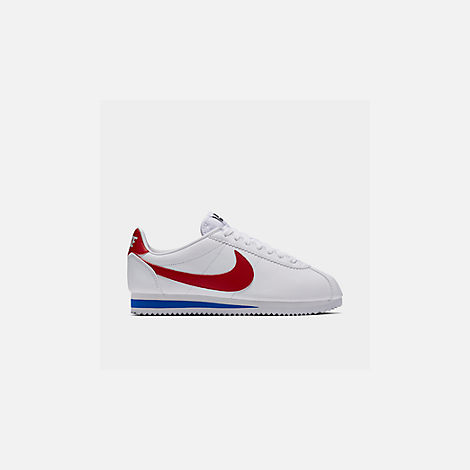 Front view of Women's Nike Classic Cortez Leather Casual Shoes in White/Varsity Red/Varsity Royal