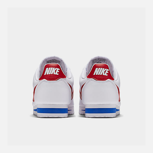 Left view of Women's Nike Classic Cortez Leather Casual Shoes in White/Varsity Red/Varsity Royal