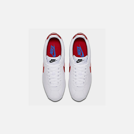 Back view of Women's Nike Classic Cortez Leather Casual Shoes in White/Varsity Red/Varsity Royal