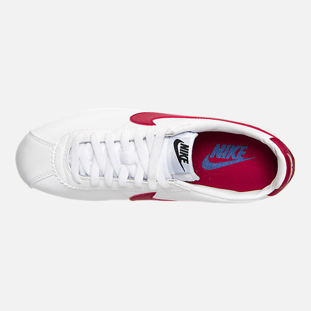 Top view of Women's Nike Classic Cortez Leather Casual Shoes in White/Varsity Red/Varsity Royal
