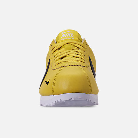 Front view of Men's Nike Classic Cortez Premium Casual Shoes in Bright Citron/Black/White