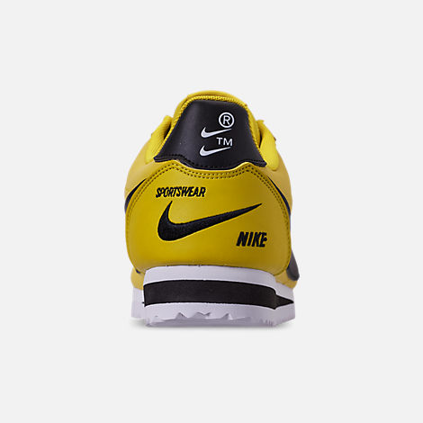 Back view of Men's Nike Classic Cortez Premium Casual Shoes in Bright Citron/Black/White