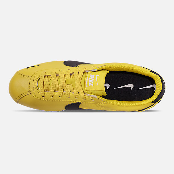 Top view of Men's Nike Classic Cortez Premium Casual Shoes in Bright Citron/Black/White