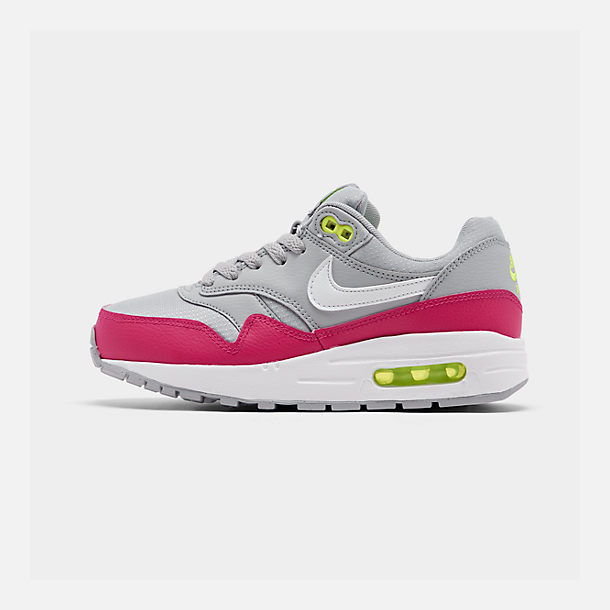 Right view of Big Kids' Nike Air Max 1 Casual Shoes in Wolf Grey/White/Rush Pink/Volt