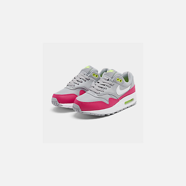 Three Quarter view of Big Kids' Nike Air Max 1 Casual Shoes in Wolf Grey/White/Rush Pink/Volt