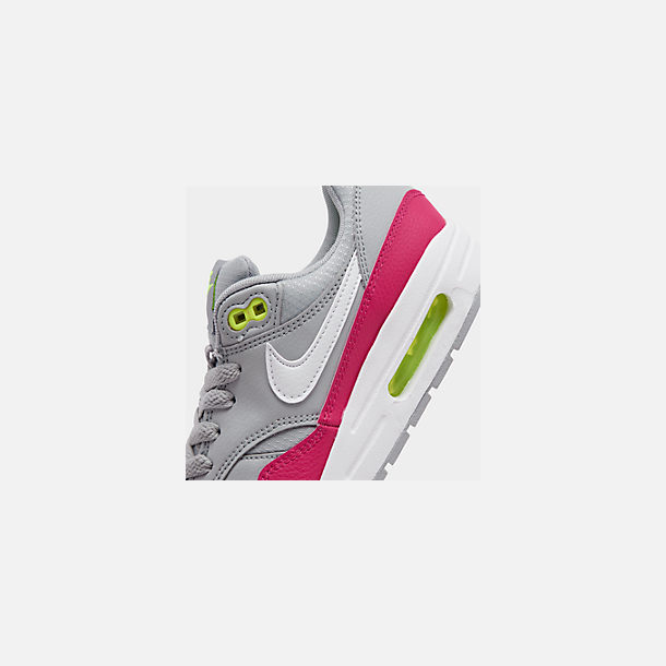 Front view of Big Kids' Nike Air Max 1 Casual Shoes in Wolf Grey/White/Rush Pink/Volt
