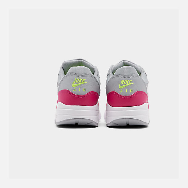Left view of Big Kids' Nike Air Max 1 Casual Shoes in Wolf Grey/White/Rush Pink/Volt