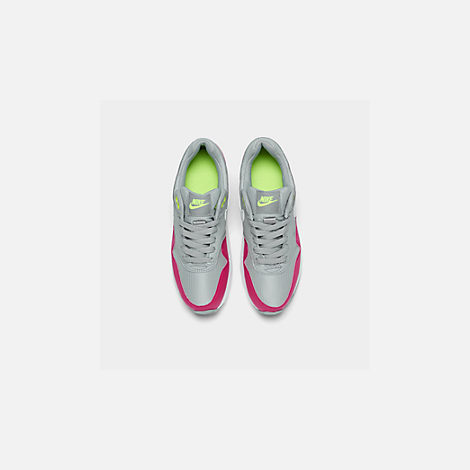 Back view of Big Kids' Nike Air Max 1 Casual Shoes in Wolf Grey/White/Rush Pink/Volt