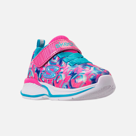 Three Quarter view of Girls' Toddler Skechers Jumpin Jam Hook-and-Loop Closure Running Shoes in Kaleidescope Print