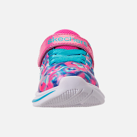 Front view of Girls' Toddler Skechers Jumpin Jam Hook-and-Loop Closure Running Shoes in Kaleidescope Print