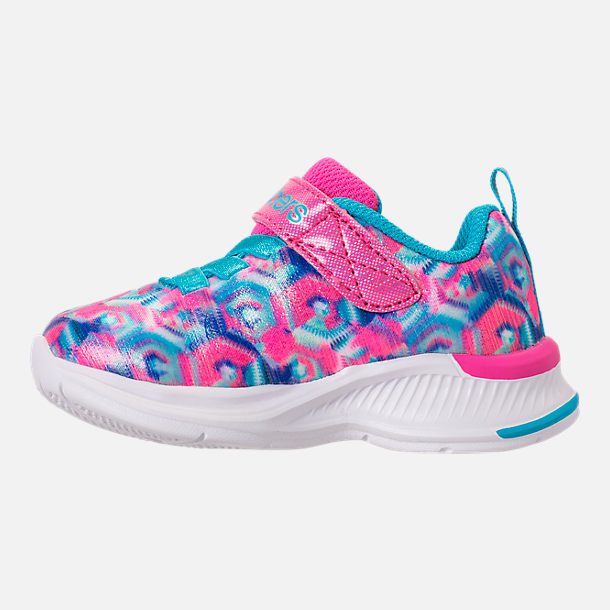 Left view of Girls' Toddler Skechers Jumpin Jam Hook-and-Loop Closure Running Shoes in Kaleidescope Print
