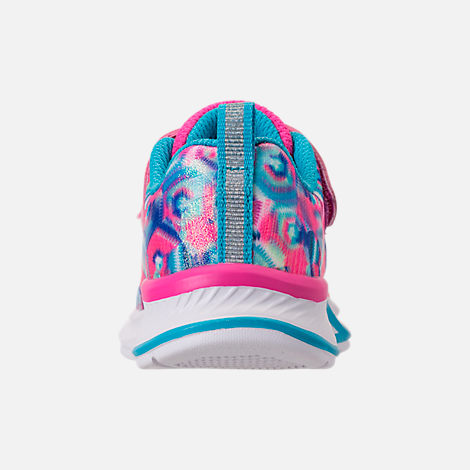 Back view of Girls' Toddler Skechers Jumpin Jam Hook-and-Loop Closure Running Shoes in Kaleidescope Print