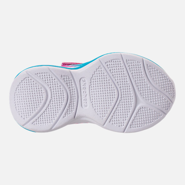 Bottom view of Girls' Toddler Skechers Jumpin Jam Hook-and-Loop Closure Running Shoes in Kaleidescope Print