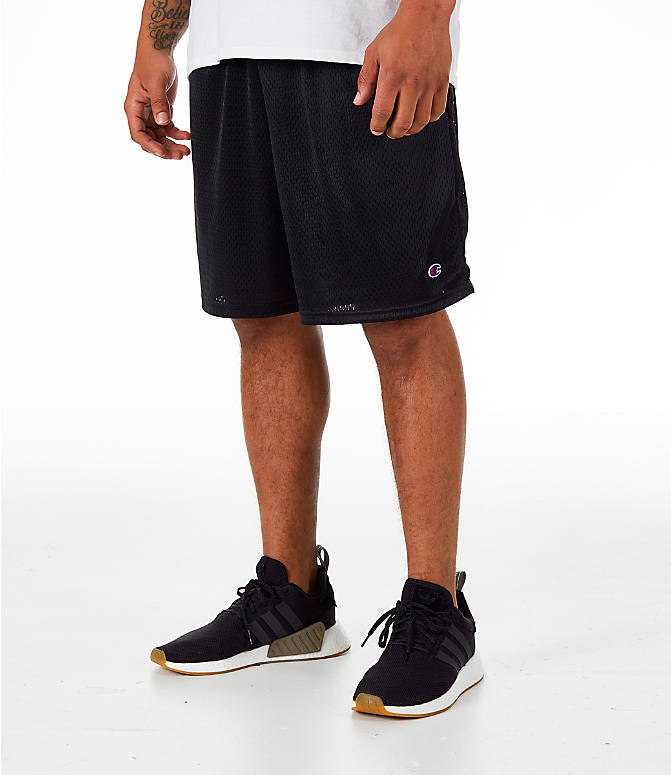 Front view of Men's Champion Classic Mesh Shorts in Black