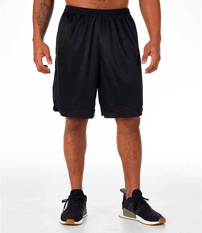 Front Three Quarter view of Men's Champion Classic Mesh Shorts in Black