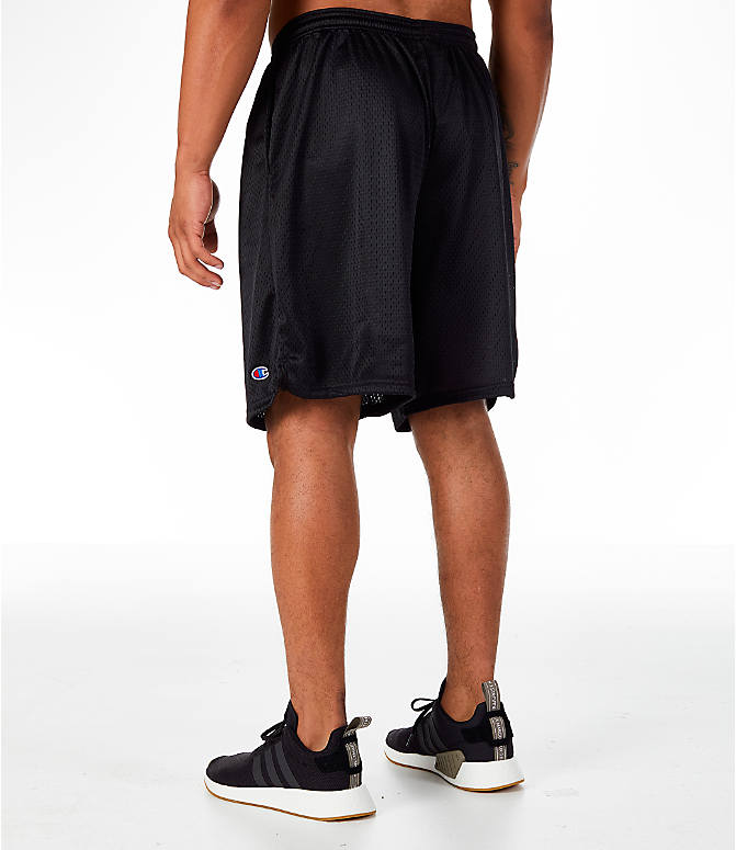 Back Left view of Men's Champion Classic Mesh Shorts in Black