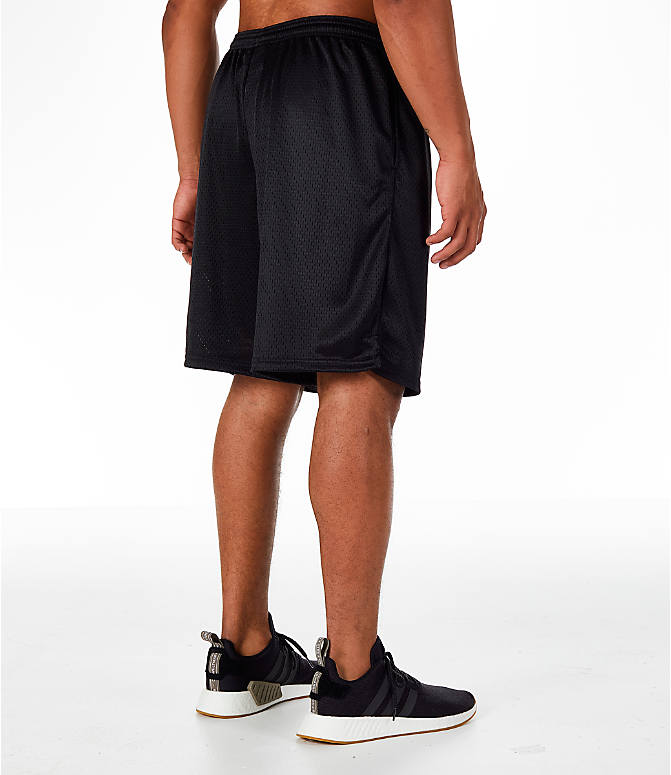 Back Right view of Men's Champion Classic Mesh Shorts in Black