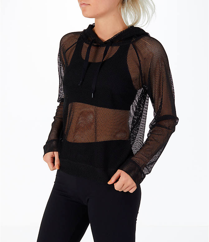 Front Three Quarter view of Women's Activ8 Mesh Hoodie in Black