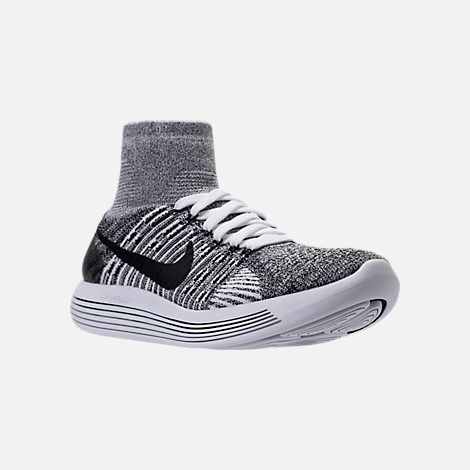 Three Quarter view of Women's Nike Flyknit LunarEpic Running Shoes in White/Black