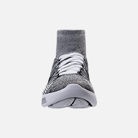 Front view of Women's Nike Flyknit LunarEpic Running Shoes in White/Black