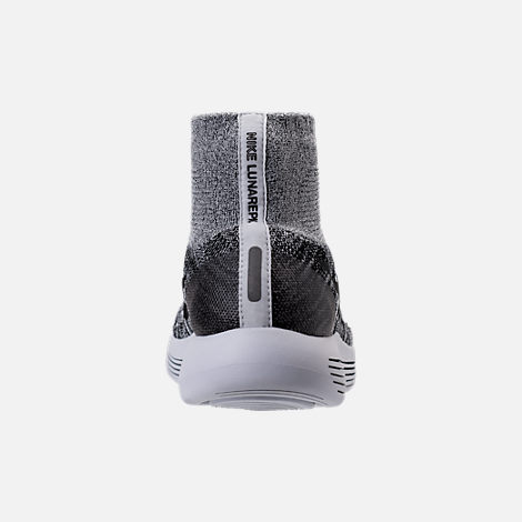 Back view of Women's Nike Flyknit LunarEpic Running Shoes in White/Black