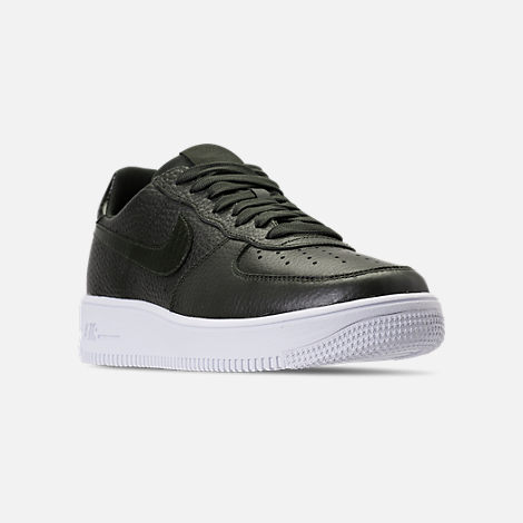 Three Quarter view of Men's Nike Air Force 1 Ultraforce Casual Shoes in  Sequoia/White
