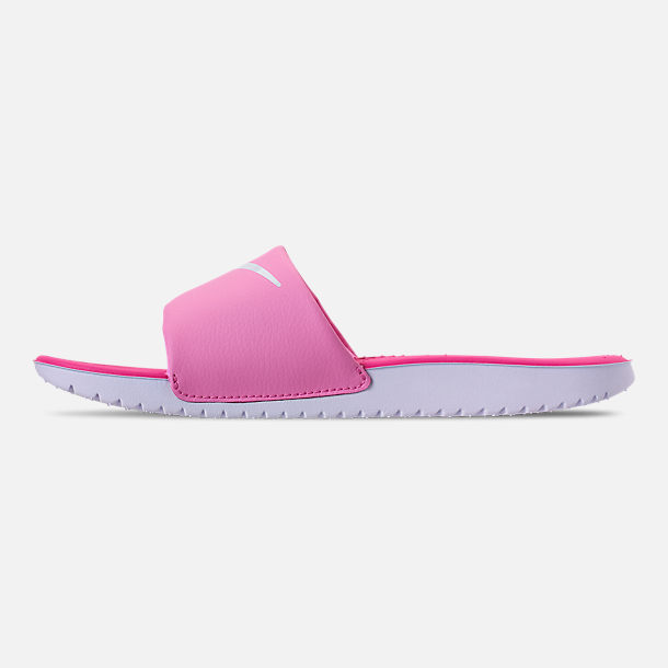 Left view of Girls' Big Kids' Nike Kawa Slide Sandals in Psychic Pink/White/Laser Fuchsia