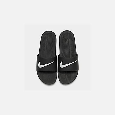 Back view of Boys' Grade School Nike Kawa Slide Sandals in Black/White