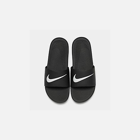 61214b2cff2c2 Back view of Boys  Big Kids  Nike Kawa Slide Sandals in Black White