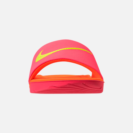 Front view of Boys' Grade School Nike Kawa Slide Sandals in Hot Punch/Volt/Total Orange