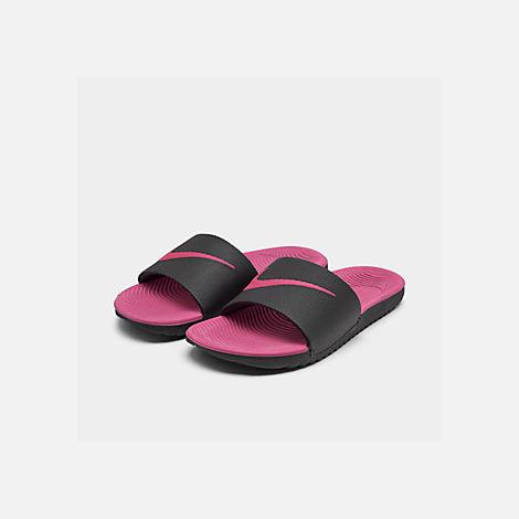ba465b5bdd98 Three Quarter view of Girls  Big Kids  Nike Kawa Slide Sandals in Black