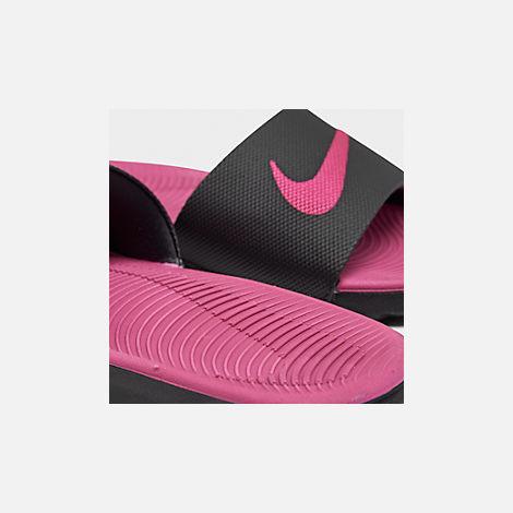 04cab05f2a6f Front view of Girls  Big Kids  Nike Kawa Slide Sandals in Black Vivid
