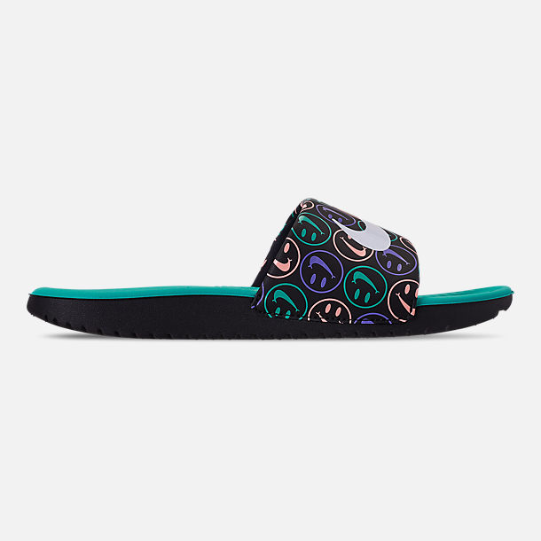 Right view of Nike Kawa Print Slide Sandals in Black/White/Space Purple/Hyper Jade