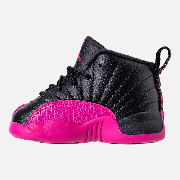 Left view of Girls' Toddler Air Jordan Retro 12 Basketball Shoes in Black/Deadly Pink/Metallic Silver