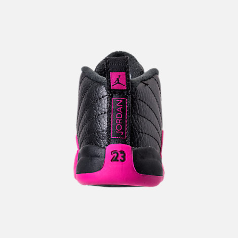 Back view of Girls' Toddler Air Jordan Retro 12 Basketball Shoes in Black/Deadly Pink/Metallic Silver