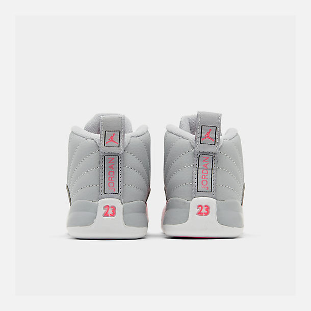 Left view of Girls' Toddler Air Jordan Retro 12 Basketball Shoes in Wolf Grey/Racer Pink/Black
