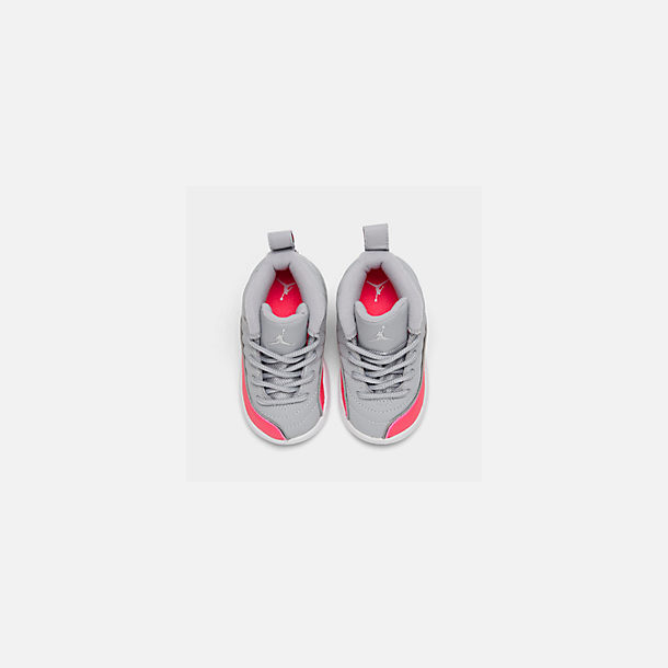 Back view of Girls' Toddler Air Jordan Retro 12 Basketball Shoes in Wolf Grey/Racer Pink/Black