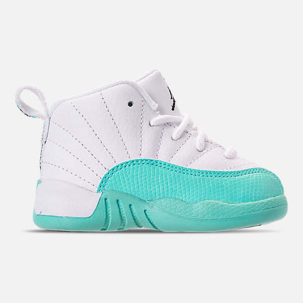 Right view of Kids' Toddler Air Jordan Retro 12 Basketball Shoes in White/Black/Light Aqua