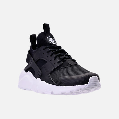 Three Quarter view of Men's Nike Air Huarache Run Ultra Casual Shoes in Black/White