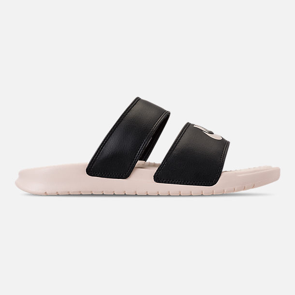 Right view of Women's Nike Benassi Duo Ultra Slide Sandals in Black/Guava Ice/Guava Ice